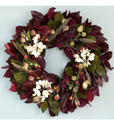 Burgundy Rosehip and Hydrangea Wreath