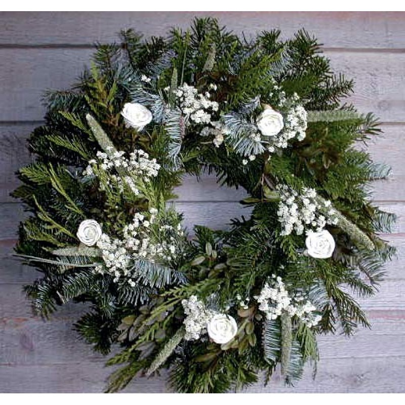 finest selection 2811c dfdc3 Christmas Holiday Winter Wreath - Fresh White Christmas Wreath