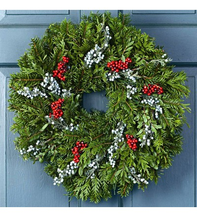 Fresh Christmas Juniper Berry Wreath