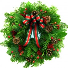Fresh Christmas and Rosehip Wreath