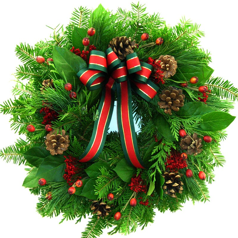 Christmas Holiday Winter Wreath  Fresh Christmas and Rosehip Wreath