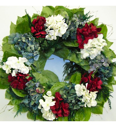 Hydrangea Red, White and Blue Wreath