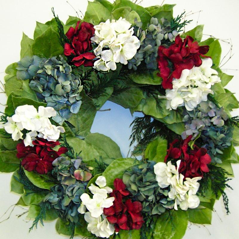 Spring Door Wreath DecorationHydrangea Red, White and Blue Wreath