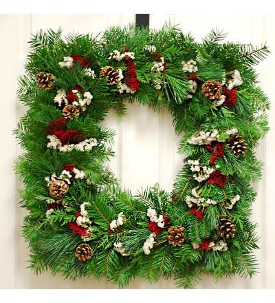Fresh Square Christmas Wreath