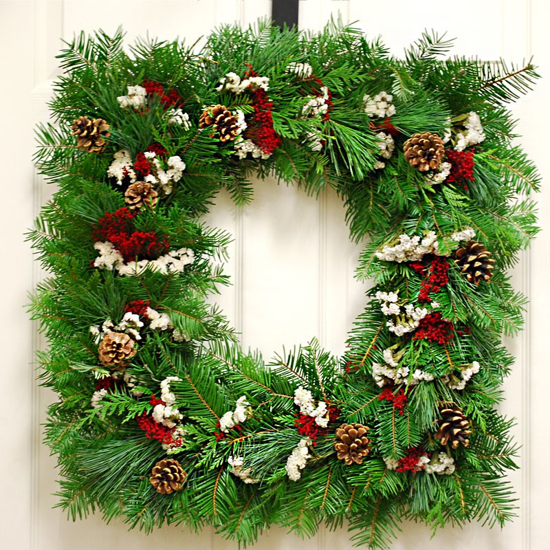 Christmas Holiday Winter Wreath Fresh Square