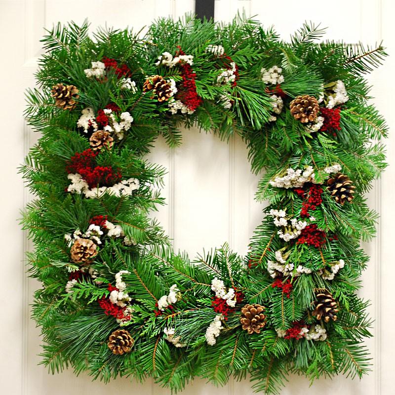 Christmas Holiday Winter Wreath Fresh Square Christmas