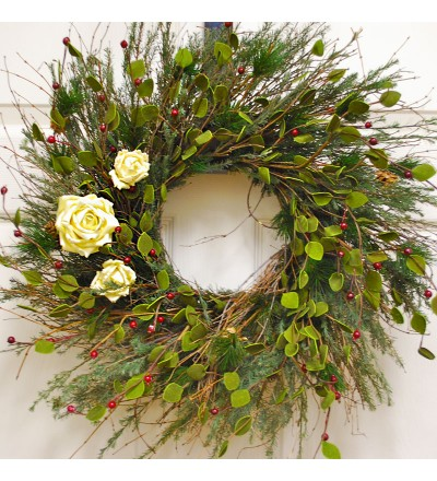 Vine and Rose Christmas Wreath