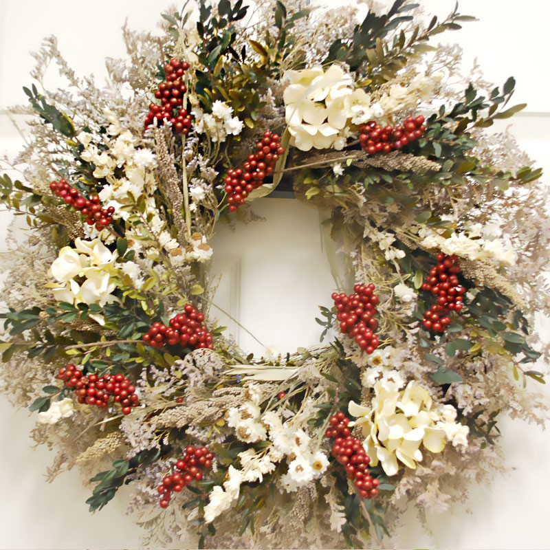 Christmas Holiday Winter Wreath - Vintage Christmas Wreath